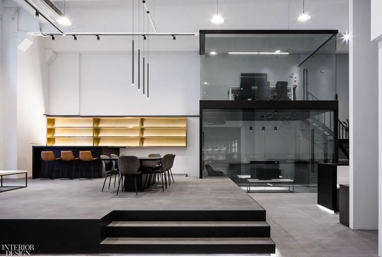 陶瓷公司黑白极简办公室设计:上海国际总部